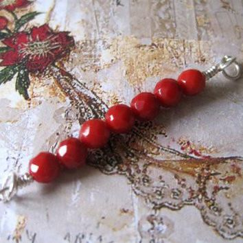 Red Coral Sterling Silver Wire Wrapped Faceted Round Beads Bar Pendant, 42mmx4mm