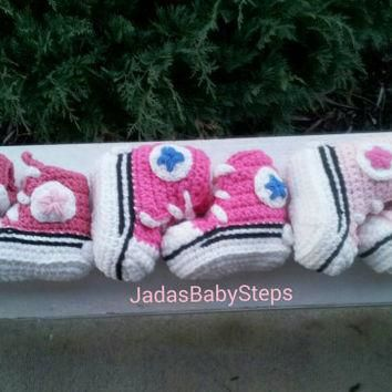 Crochet Converse Infant/Baby Booties (Rose/Powder Pink, Powder Pink/Pink, Pink/Royal)