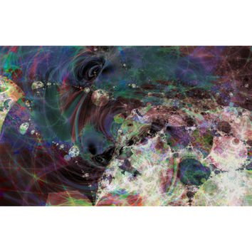 """Fine Art Wall Art ORIGINAL Fractal Giclee Print on Metal 40 x 20 """"Over There"""" Galactic Universe Space Astronomy"""