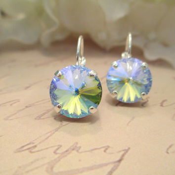 swarovski crystal earrings, CRYSTOLITE GLACIER BLUE, 12mm rivoli, designer inspired, popular, fashion forward
