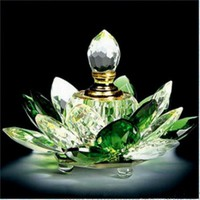 JQJ Crystal Glass Hue Reflection Lotus Flower Perfume Bottle Green Feng Shui oil Bottle Refillable Craft Gift with Gift Box