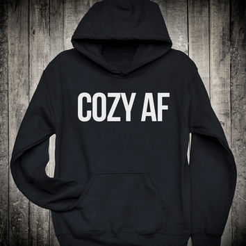 Cozy Af Funny Weekend Slogan Hoodie Cuddle Hang Lounging Sweatshirt Sunday Chill Lazy Clothing