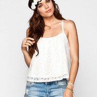 Full Tilt Lace Overlay Womens Cage Back Swing Tank Cream  In Sizes