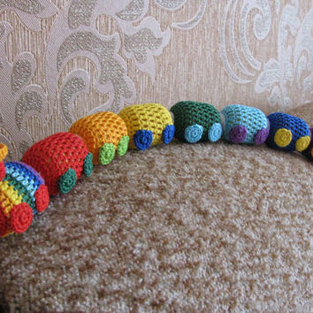 Rainbow Train-rattle, Crochet Train, Handmade toys, Crochet toys, Development toy, Toddler toys, Baby toys