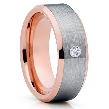 Rose Gold Tungsten Ring - White Diamond Ring - Men's Wedding Band