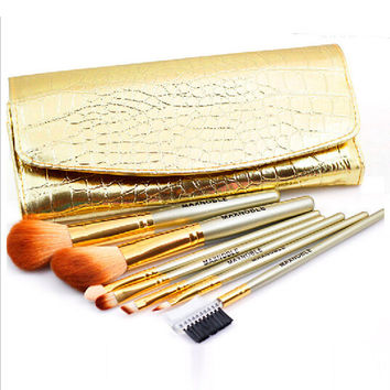 7-pcs Gold Portable Makeup Brush Sets Luxury Brush [4918364356]