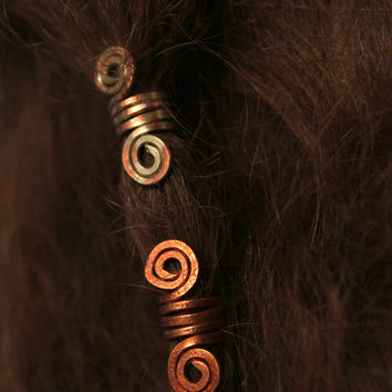 2 Custom Copper hair beads • Viking hair beads • Beard jewelry • Dwarven beard coils • Bead hair accessory • Dreadlock hair accessories