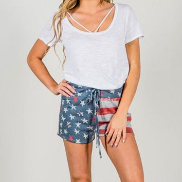 American Flag Printed Drawstring Women Shorts Summer New Pockets Sashes Mid Waist Loose Simple Fashion Casual Female Short Pants