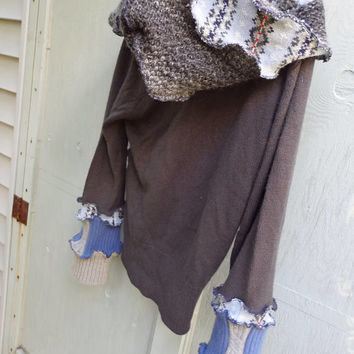 Argyle Hoodie, refashioned sweater, Pull over hoodie, patchwork sweater,  gypsy festival sweater, recycled sweater, hippie clothing