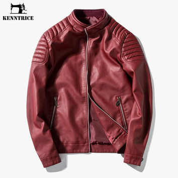 Leather Jackets Red Blue Black Men Leather Coat Spring Autumn High Quality Motorcycle Leather Jacket New Arrival