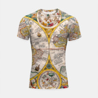 ORBIS TERRA RVM Old-Cartographic Map Shortsleeve Rashguard, Live Heroes