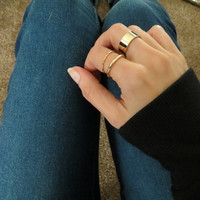 Thin and Thick Stacking Midi Rings - Set of 3 Gold OR Silver