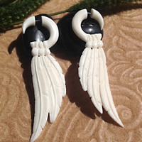 Fake Gauge Earrings Tribal Feather Bone Naturally by DewiDesign