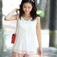 Butterfly Bow Accent Little White Chiffon Tank Top