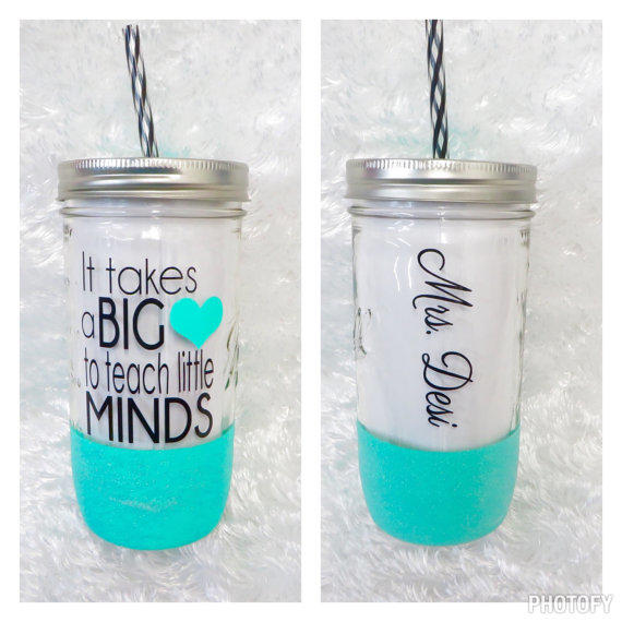 Personalized Tumbler 24oz Mason Jar Tumbler Teacher Gift Teacher Cup Personalized Cup Glitter Dipped Tumbler Cup With Straw