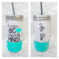 Personalized Tumbler * 24oz Mason jar Tumbler * Teacher Gift * Teacher Cup * Personalized cup * Glitter Dipped *  Tumbler cup with straw *