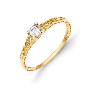 Size 3 14kt Yellow Gold 3mm Genuine White Topaz Birthstone Girls Ring
