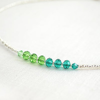 Tiny St Patricks Day Necklace Irish Good Luck Green Crystal Choker Two Tone Color Block Necklace Sterling Silver Thin Minimal Gift for her