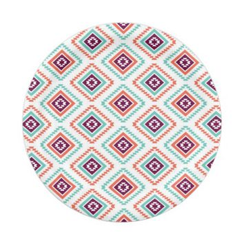 Tribal Ikat Diamond Aztec Pattern 7 Inch Paper Plate