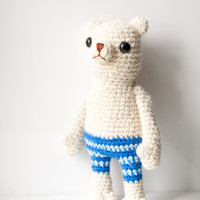 Soft toy amigurumi polar bear plush soft sculpture crocheted bear - Willy the polar bear white with blue striped pants