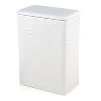 White Vinyl Wicker Laundry Bin Clothes Hamper