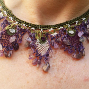 Amethyst Necklace, Mediterranean Boho Jewelry