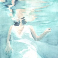 Original watercolor painting bride floating in water white dress art