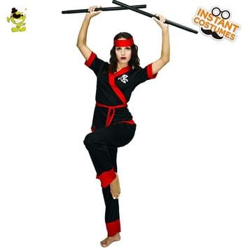 Woman Cool Black Ninja Costumes Adult Female Halloween Party Mysterious Japan Assassine Cosplay Fancy Outfits