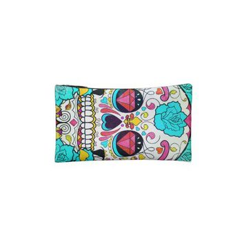Hipster Sugar Skull and Teal Blue Floral Roses Cosmetic Bag from Zazzle.com