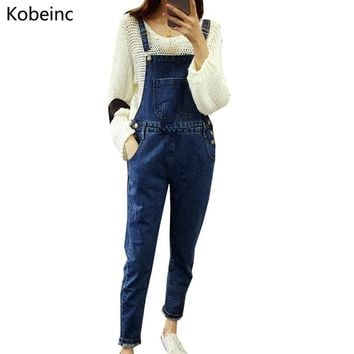 Vintage Dark Blue Jeans Jumpsuits Slim Pencil Jeans Denim Overalls All Match Adjustable Strap Jumpsuits Slim 2017 Rompers S-XXL