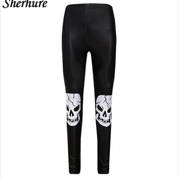 Women Leggings Thin High Waist Stretch Women  Skull Print Pants
