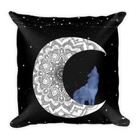 Wolf Moon Pillow 18 X 18 Filled Boho Chic Decor Black and White Pillow Mandala