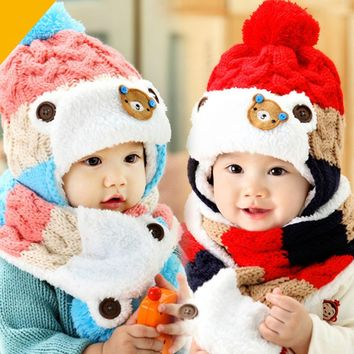 Children's Winter Baby Hat 2017 Caps Hats For Girls Children Kids Knit Earflap Hat and Scarf Set Crochet Knitted A Hat For A Boy