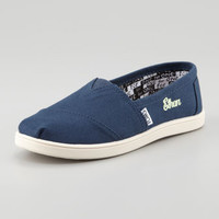 Personalized Classic Canvas Slip-On, Navy, Youth - TOMS - Navy