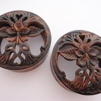 Hibiscus Flower Black Wood Plugs (7/8 inch - 2 inch)