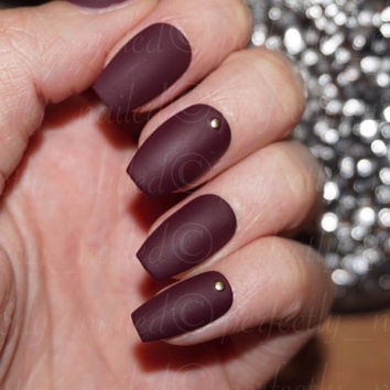 Matte Burgandy Handpainted False Nails • Fake Nails • Press on Nails • Stick on Nails