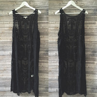 Lace Long Line Vest (Black)