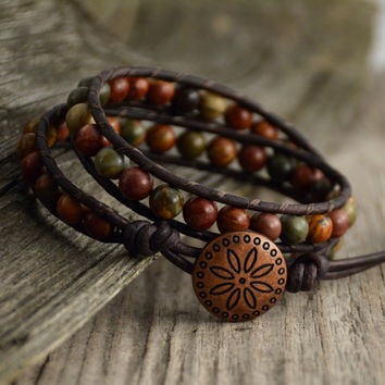 Earthy leather wrap bracelet. Rustic beaded bracelet