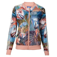 """Adidas"" Women Sports Casual Lotus Print Long Sleeve Cardigan Zip Baseball Clothing Jacket Coat"