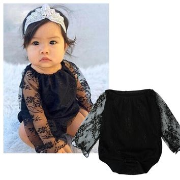 Baby Girls Lace Bodysuits Newborn Baby Bodysuits Long Sleeve Black Color Lace stitching Kids Bodysuit Infant Costume