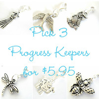 Knitting Progress Keeper - Pick 3 | Knitting Project Bag Zipper Pull | Crochet Stitch Marker | Removable Stitchmarker | Sheep, Owl, Fairy