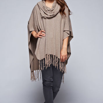 Love Stitch Cowl Neck Poncho with Fringe I-50059NW