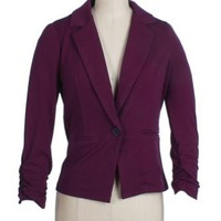 Timing Light Blazer with Scrunched Wrists in Purple