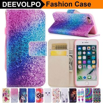 DEEVOLPO Leather Case For Apple iphone X 8 8+ 7+ 7 6 6S Plus 5 S SE Touch6 Wallet Bag Silicone Holder Cat Deer Cover Coque DP23Z