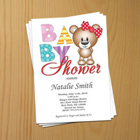 Bear Baby Shower Invitation Girl Baby Shower Invitation Baby Girl Shower Invitation Printable (v6) - Free Thank You Card - Instant Download