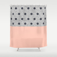 Shiny Polka Dots on Grey Melange Shower Curtain by Cafelab