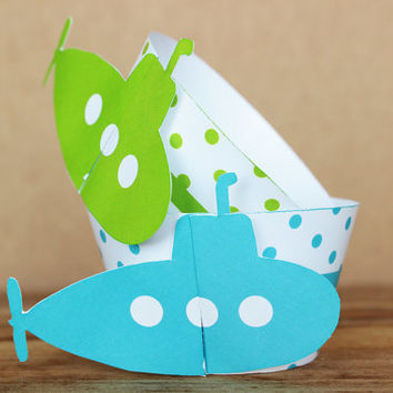 Printable 3D Blue Submarine Cupcake Wrapper Set in aqua blue and lime green polka dot patterns  - INSTANT DOWNLOAD
