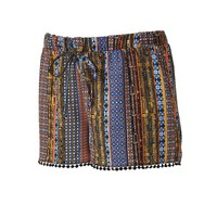 About A Girl Juniors' Printed Shortie Shorts, Size: