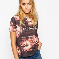 ASOS T-shirt with All Over Floral and Boheme Motif in Texture