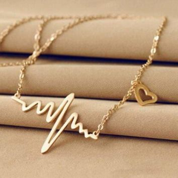 Women's Silver/Gold-coloured Heartbeat Necklace